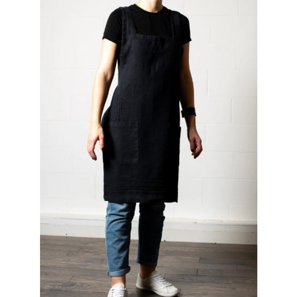 Linen Way Cuisine Linen Apron, Black