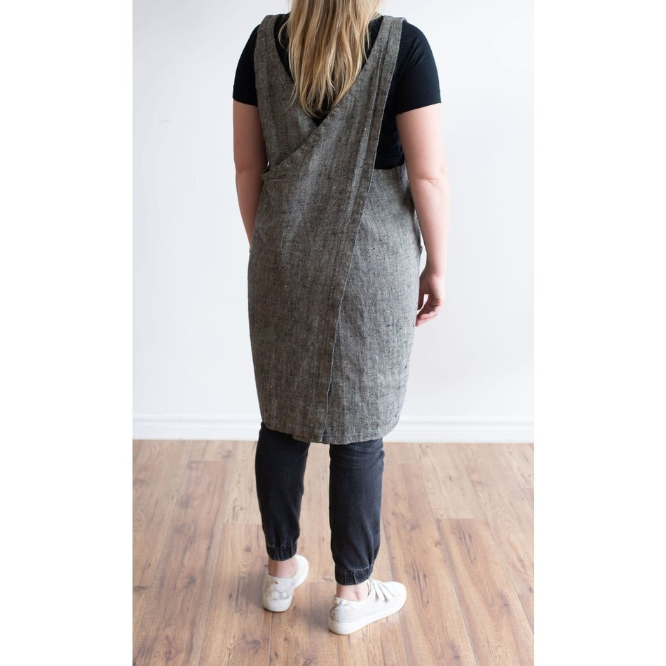 Linen Way Cuisine Linen Apron, Black/Natural