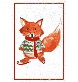 Flour Sack Kitchen Towel, Red Fox
