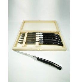 Laguiole Essential Knives, Ebony, Wood Box, Set of 6