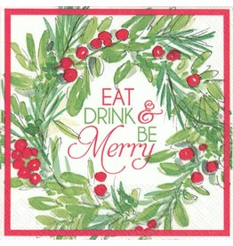Be Merry Wreath Cocktail Napkins