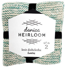 Now Designs Heirloom Knit Dishcloth, Set of 2, Lagoon
