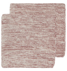 Now Designs Heirloom Knit Dishcloth, Set of 2, Wine