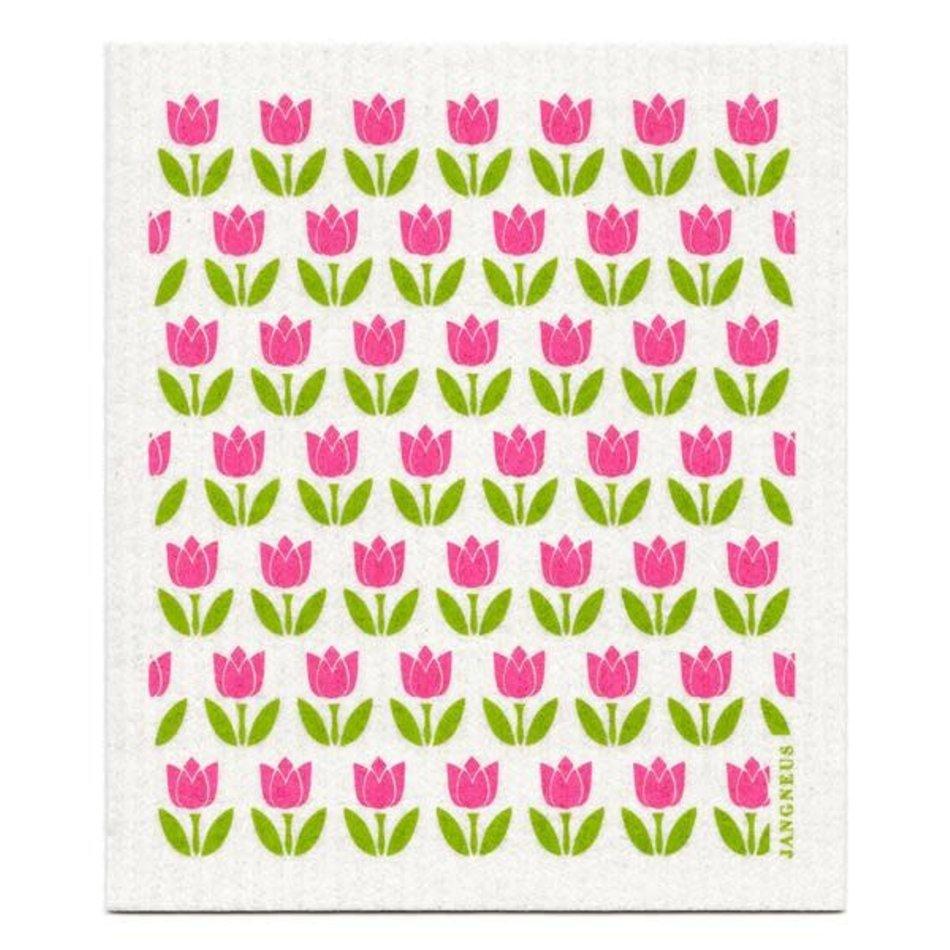 Swedish Dishcloth, Pink Small Tulips
