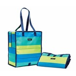 PACKIT PACKIT Freezable Grocery Tote, Green Stripe