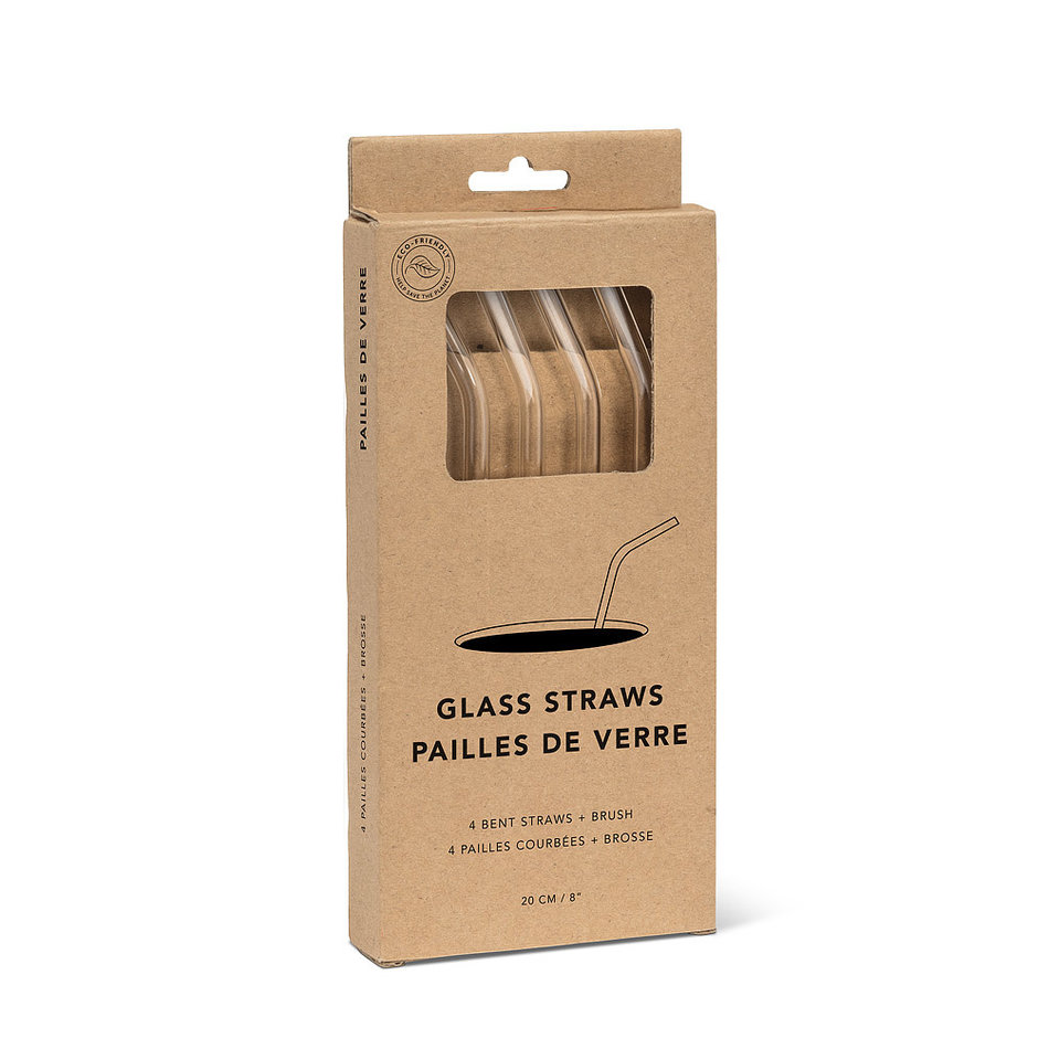 Abbott Bent Glass Straws, Set of 4