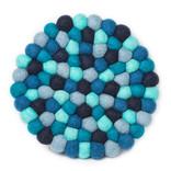 "Felt Ball Trivet, 8"", Blue"