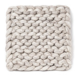"""Chunky Knitted Trivet, 8"""", Square, Beige"""