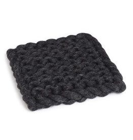 """Chunky Knitted Trivet, 8"""", Square, Charcoal"""