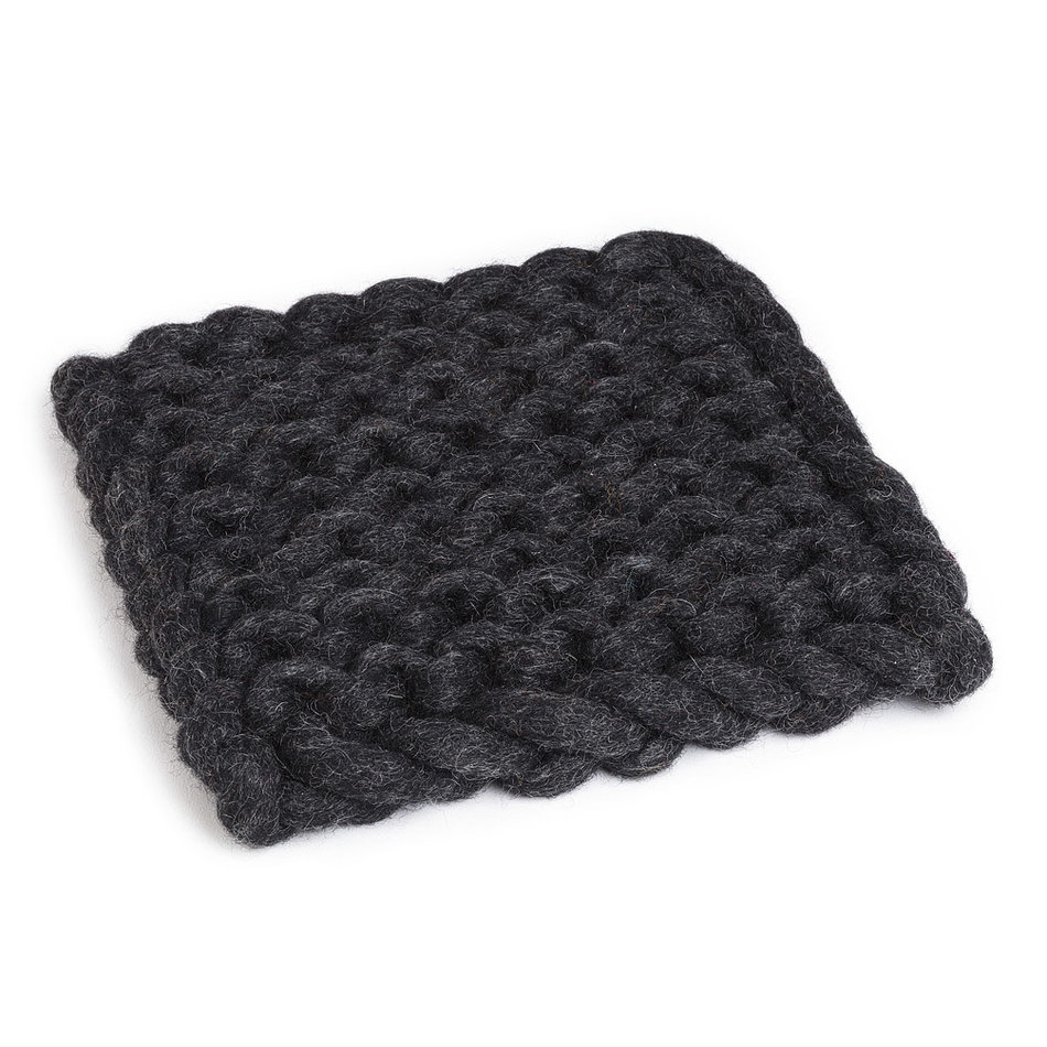 "Chunky Knitted Trivet, 8"", Square, Charcoal"