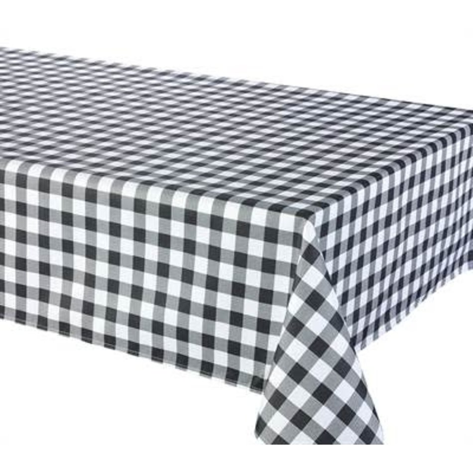 """Percalle (GIngham) Tablecloth, 70"""" Round, Black"""