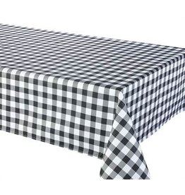 """Percalle (GIngham) Tablecloth, 58""""x78"""", Black"""