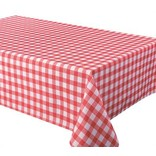 """Percalle (Gingham) Tablecloth, 58""""x78"""", Red"""