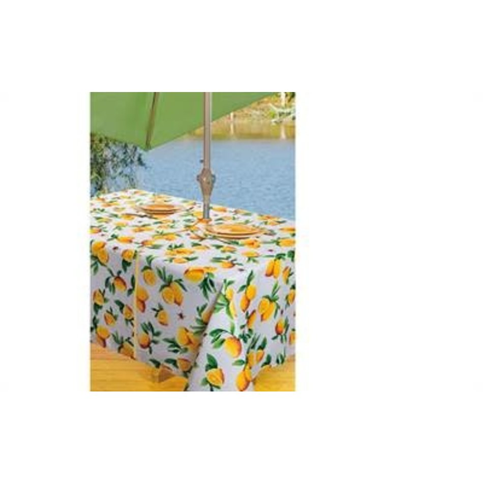 """Beatrice Zipper Tablecloth. 60"""" Round, Yellow"""