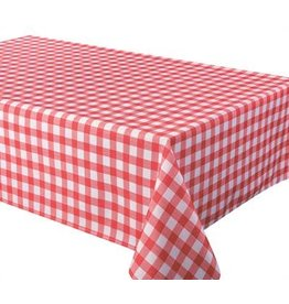"""Percalle (Gingham) Tablecloth, 70"""" Round, Red"""