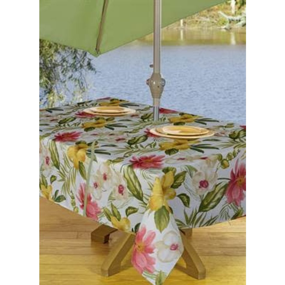 "Waikiki Zippered Tablecloth, 54""x72"", Beige"
