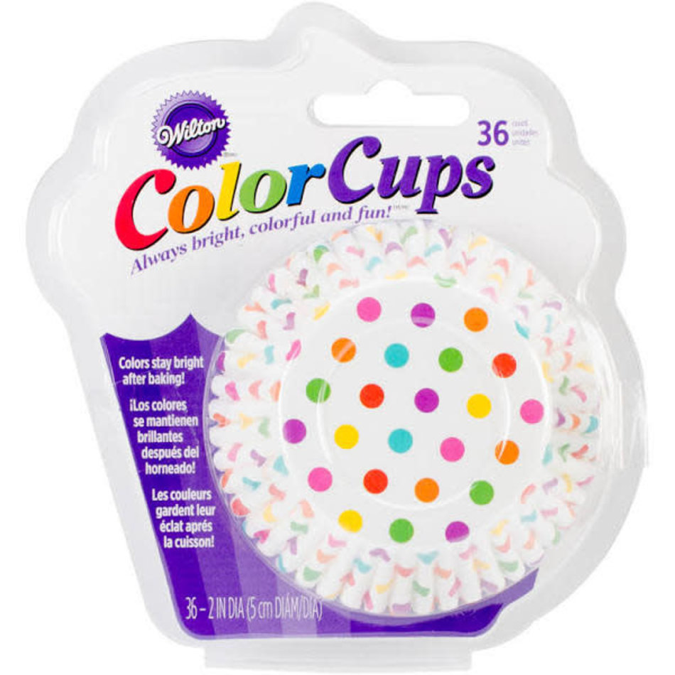 Wilton Wilton Standard Bake Cups, Dots Rainbow, 36 count