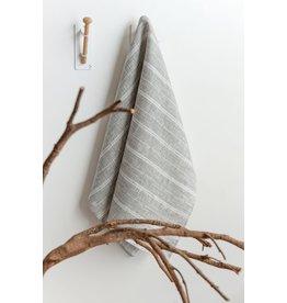 Linen Way Yves Linen Tea Towel, Grey with Stripes