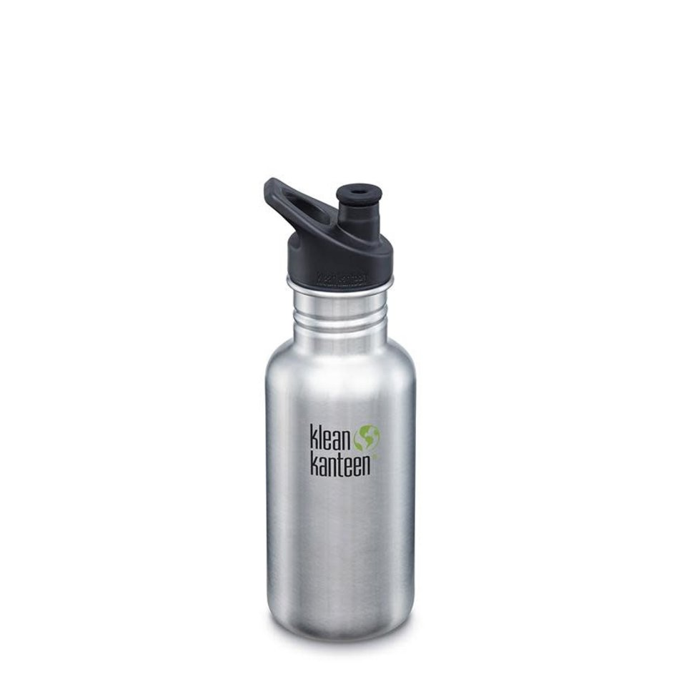 Klean Kanteen Classic 18oz with Sport Cap, Brushed Stainless