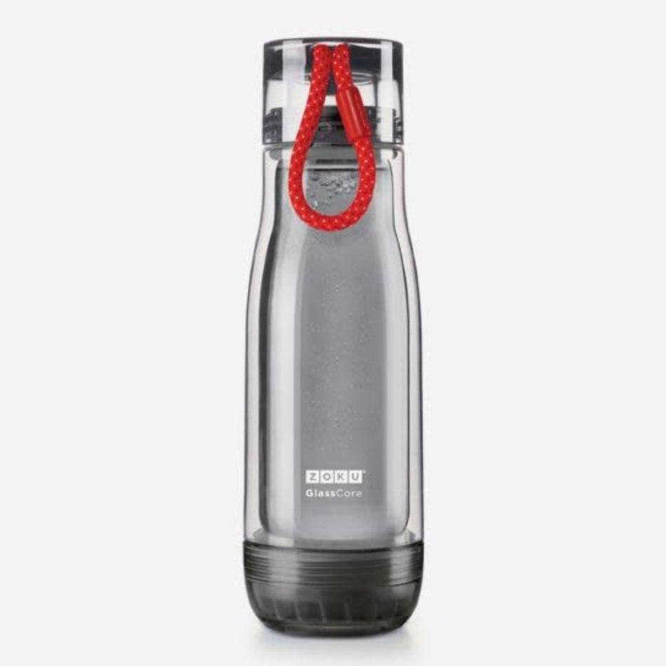 ZOKU Zoku Glass Core Water Bottle, 16oz Grey