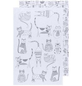 Now Designs London Gray Printed Floursack Dish Towels, Set of 2
