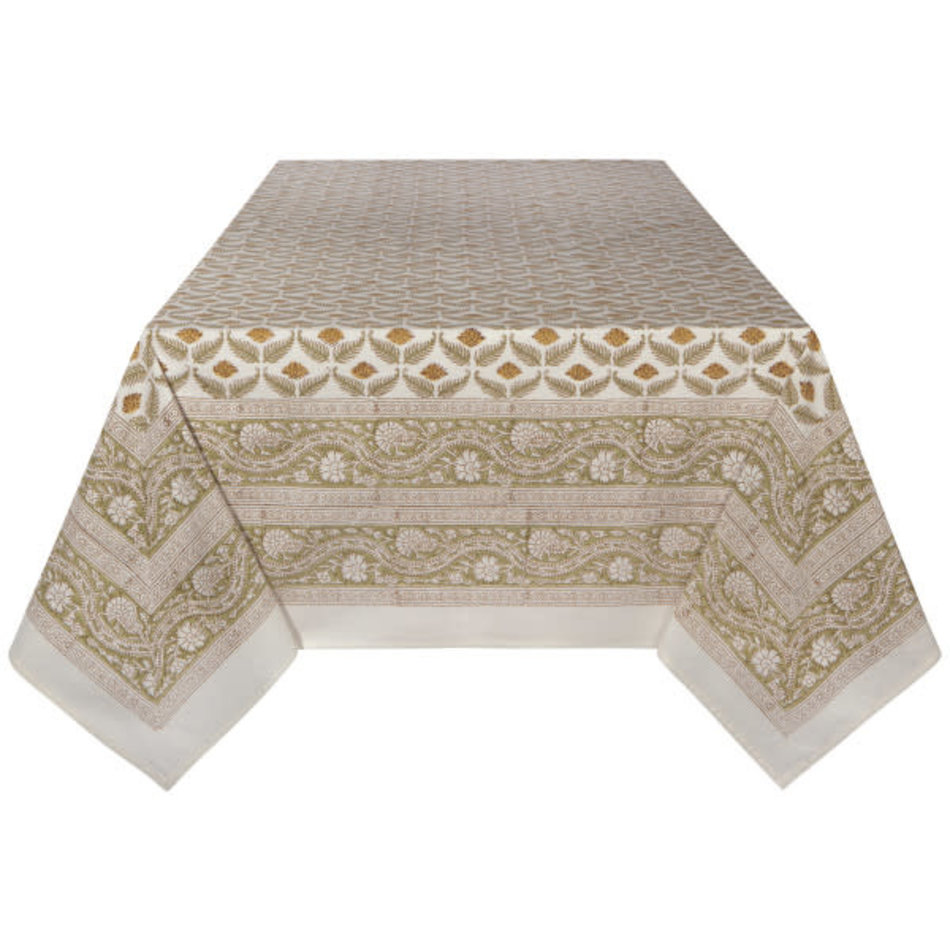 "Frond Block Print Tablecloth, 60""x90"""