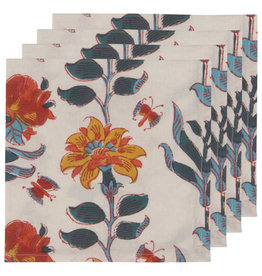 Marigold Block Print Napkins, set of 4