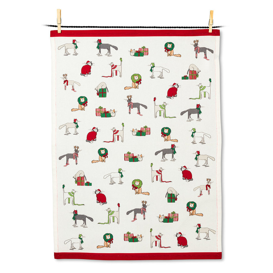 Holiday Cats Tea Towel