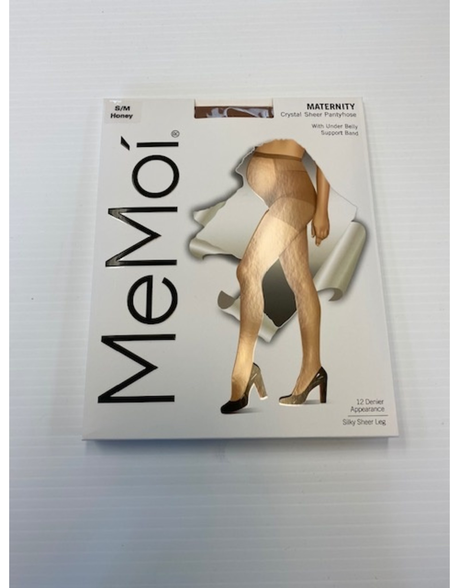 Memoi Memoi Women's Maternity Crystal Sheer Pantyhose with Under Belly Support Band 12 Denier MA-401