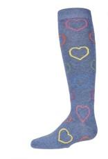 Memoi Memoi Multi Lurex Heart Knee Sock