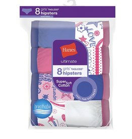 Hanes Hanes Girls Tagless Super Soft Cotton Hipsters