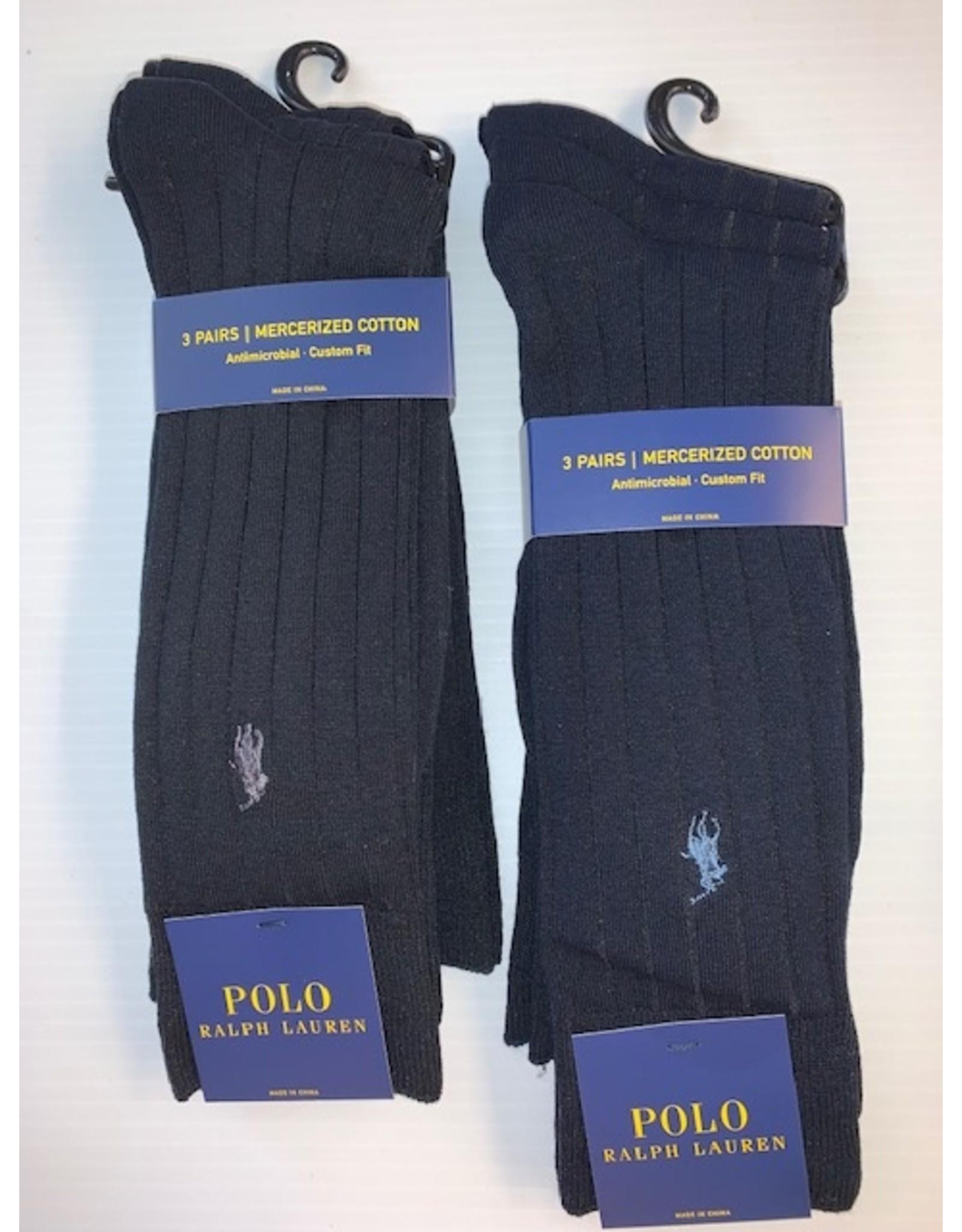 Polo Ralph Lauren  Polo Ralph Lauren Men's Ribbed Mercerized Cotton Dress Socks 3-Pack 8081PK