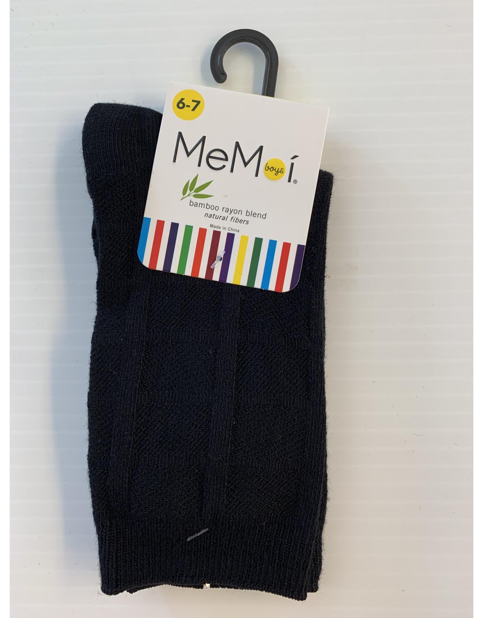Memoi Memoi Boys Bamboo Solid Plaid Dress Socks MK-180