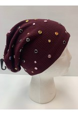 DaCee DaCee Ribbed Beanie with Scattered Colored Stores