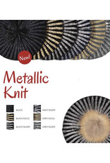 DaCee Dacee Ladies Metallic Knit Lined Pom Pom Hat