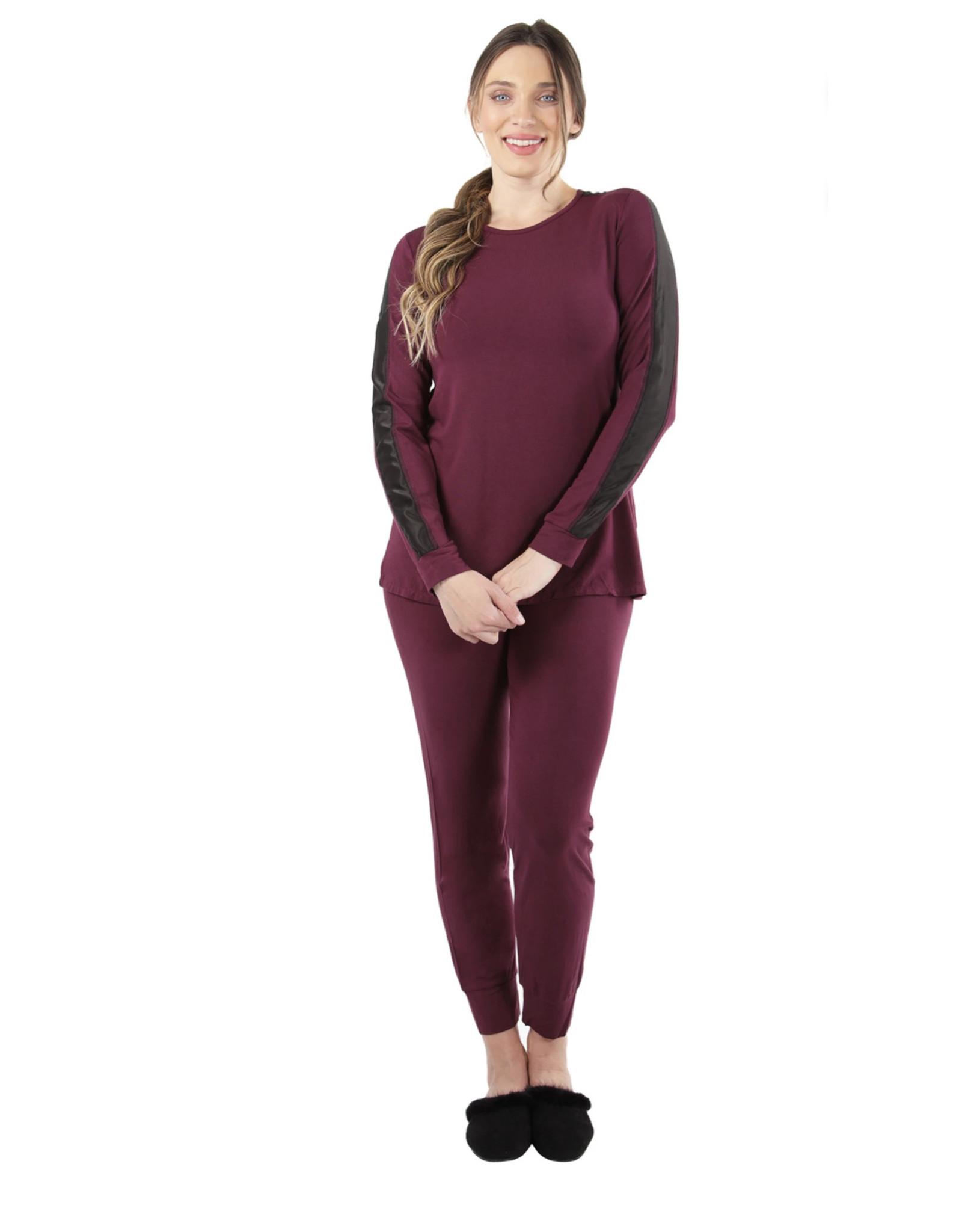 Memoi Memoi Ladies Satin Trim Pajama Set