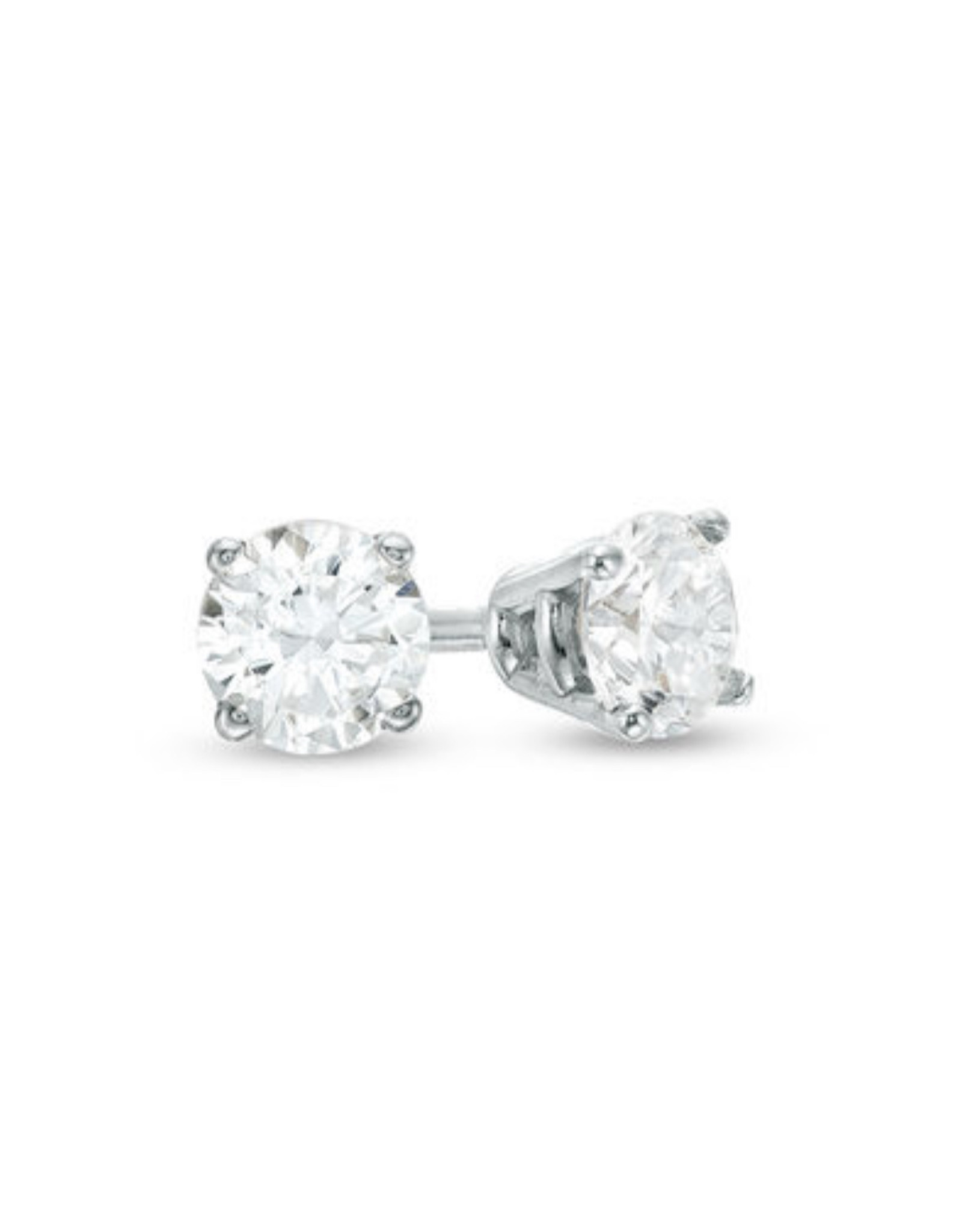 Sox World Plus Sterling Silver Diamond Solitaire Stud Earrings (small)