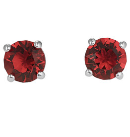 Sox World Plus Sterling Silver Solitaire Stud with Color Stone Earrings