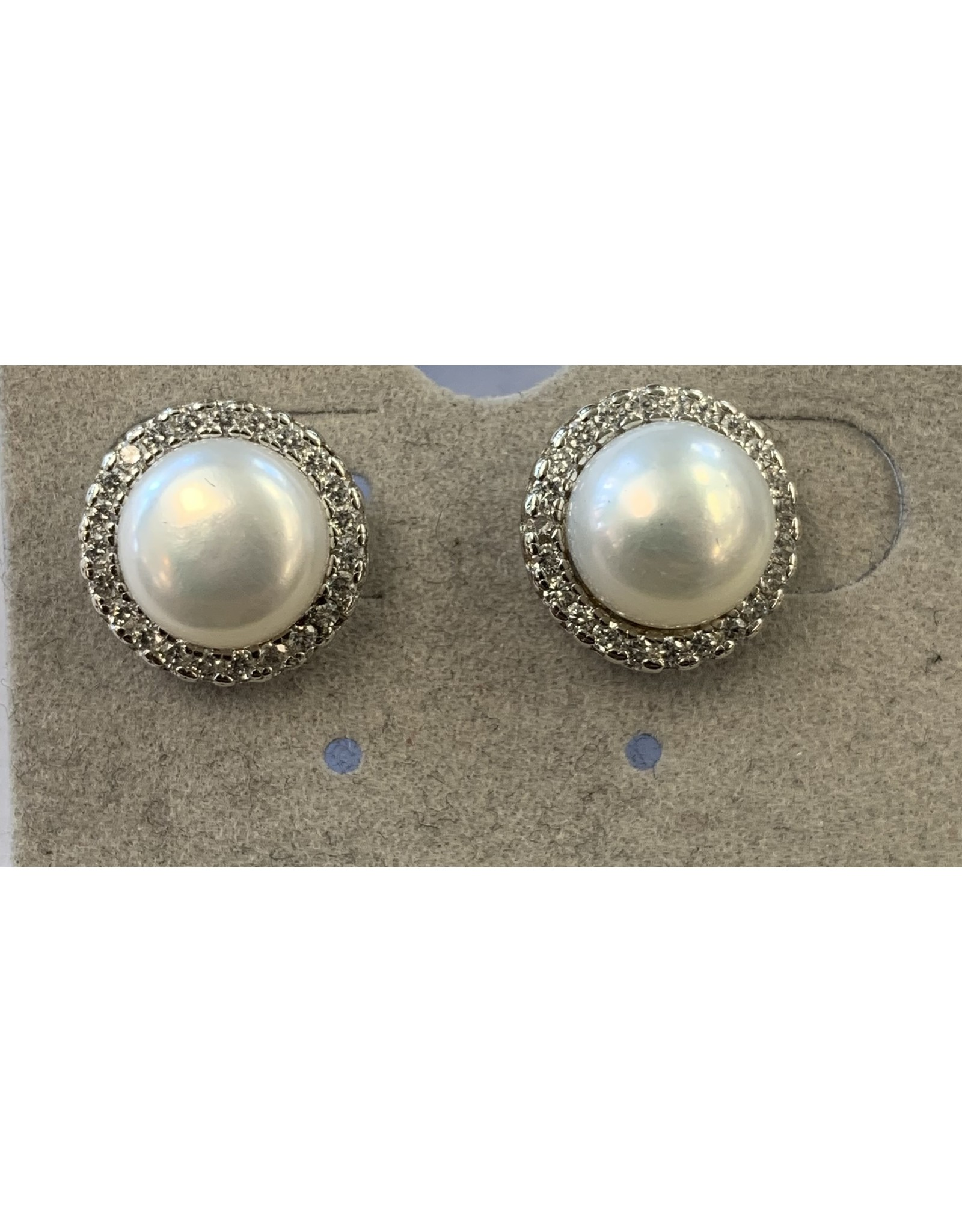 Sox World Plus Sterling Silver Pearl Studs with Diamond Finish Earrings