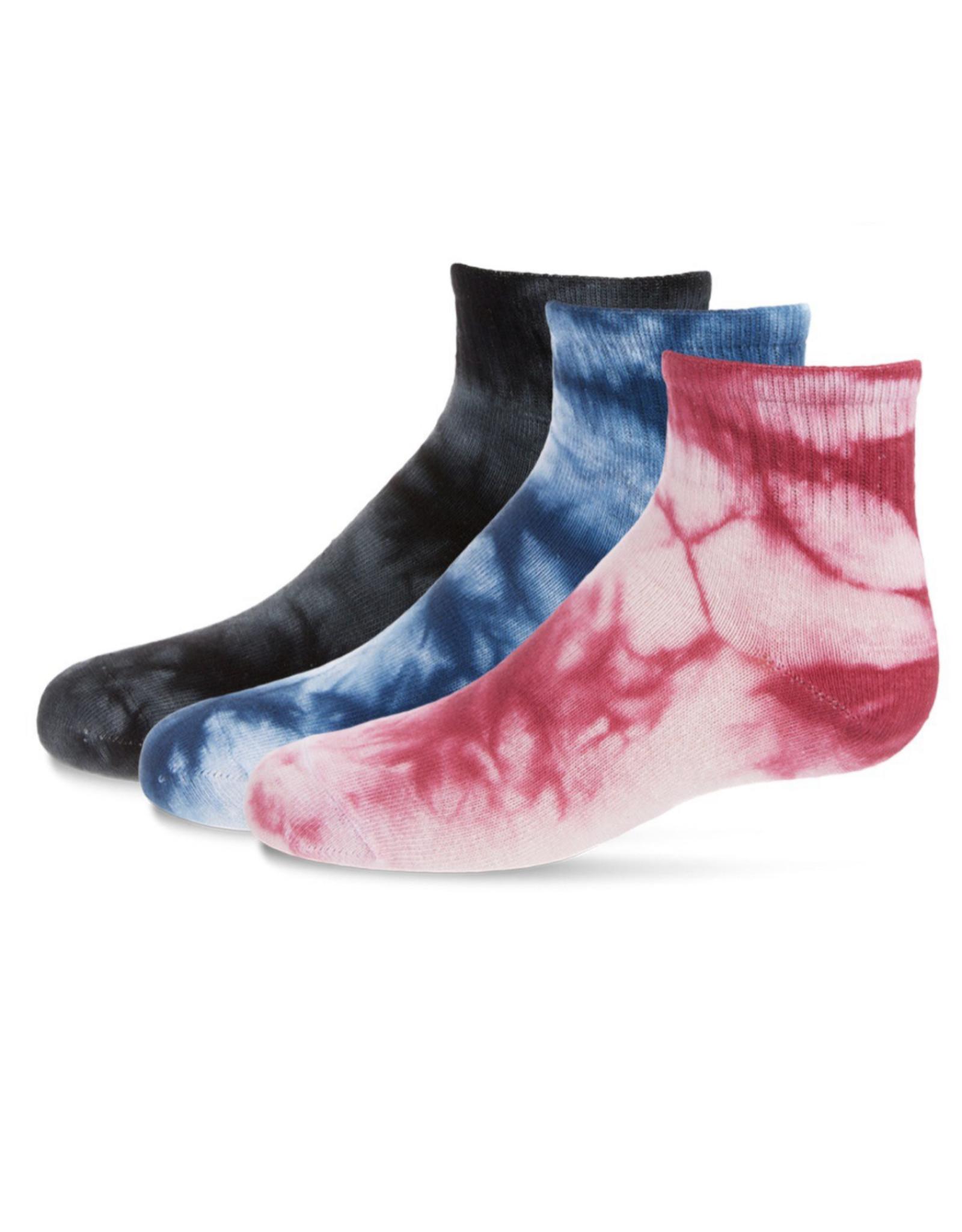 Memoi Memoi Tie Dye Mid Cut Socks 3-Pack MKF-563