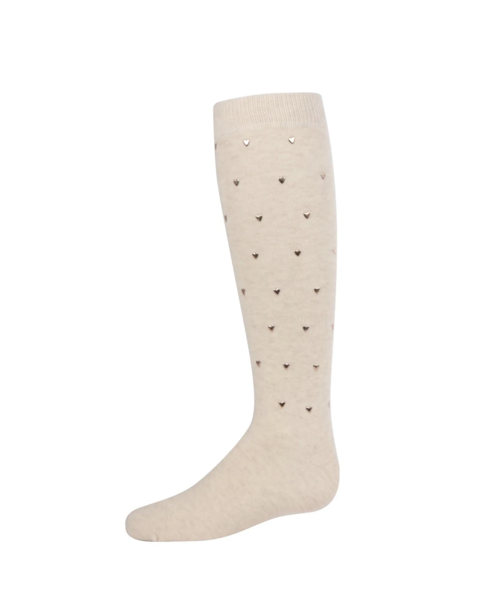 Memoi Memoi Girls Heart Stud Knee Sock