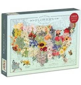 Games, Puzzles & Cards USA State Flowers Puzzle (shopsmall2020)