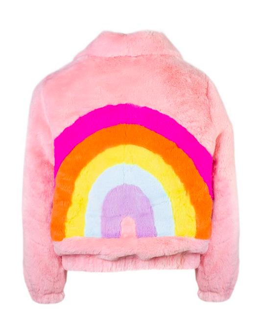 Lola and the Boys Rainbow Faux Fur Jacket