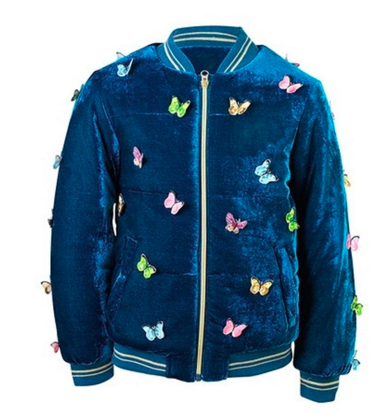 Lola and the Boys Velvet Butterfly Bomber