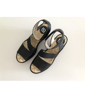 Fly London Black Wedge Sandals