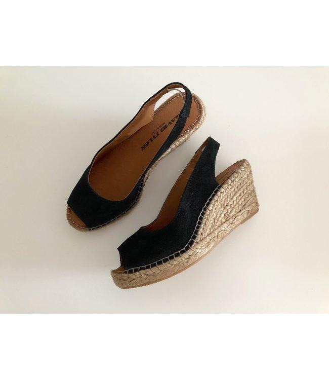 David Tyler Black Wedge Sandals