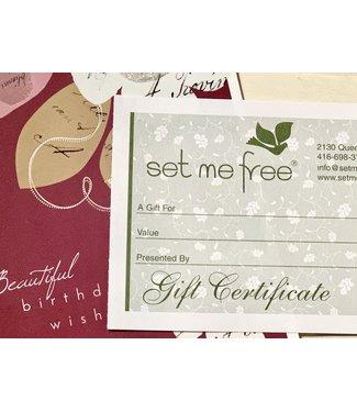 Set Me Free Gift Certificate $100