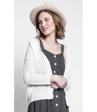 Pink Martini White Open Cardigan