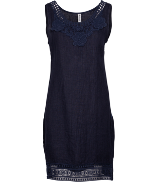 M Made in Italy Navy Blue Dress with Lace
