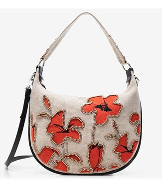Desigual Round hobo with hibiscus and pearls